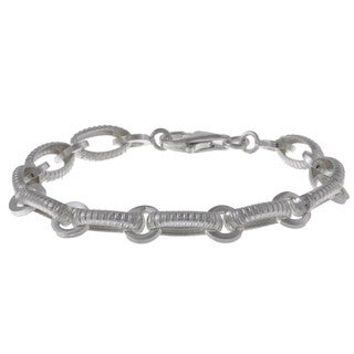 La Preciosa Sterling Silver 'Lined' Oval and Round Link Bracelet