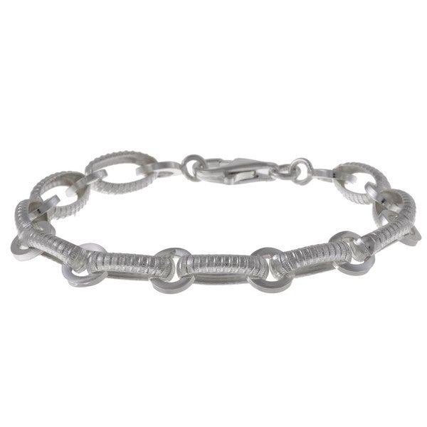 La Preciosa Sterling Silver 'Lined' Oval and Round Link Bracelet