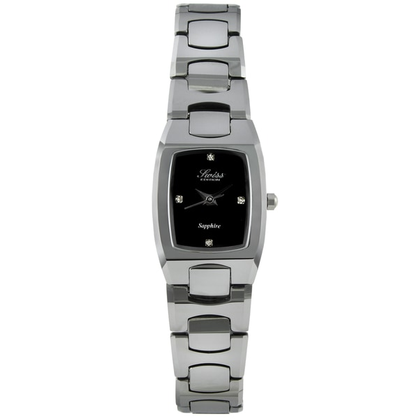 Swiss Edition Women's Tungsten Black Dial Crystal Accent Watch