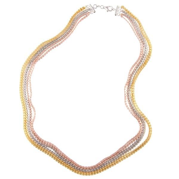 La Preciosa Tri-color Sterling Silver 18-inch Link Necklace