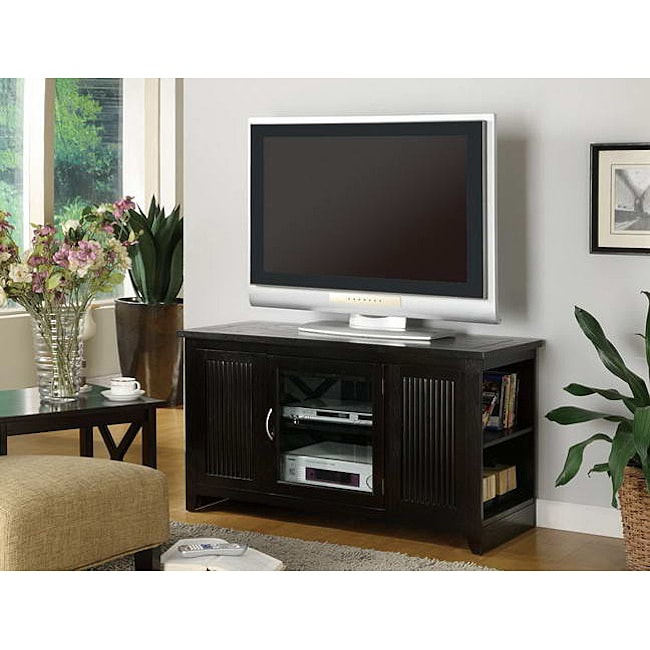 Cappuccino Solid Wood and Veneer TV Stand