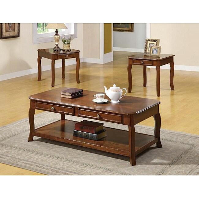 Cherry Veneer Traditional 3-piece Table Set