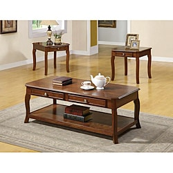 Cherry Veneer Traditional 3-piece Table Set