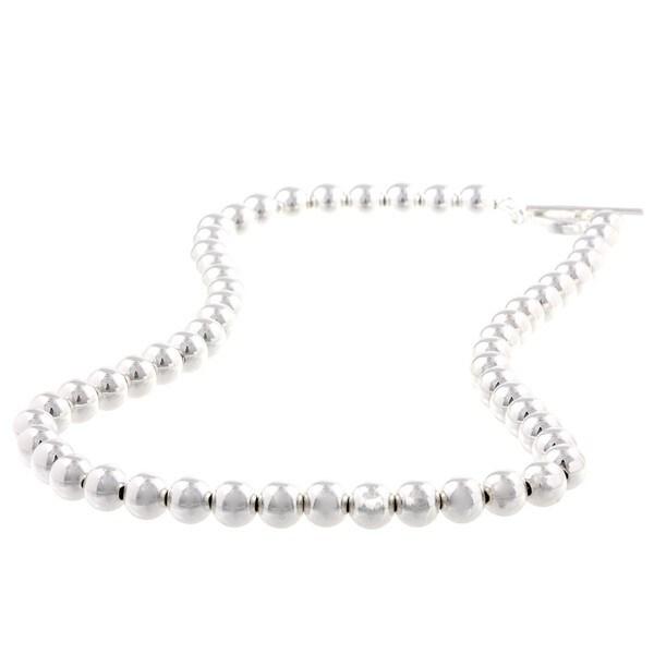 La Preciosa Sterling Silver 8-mm Beaded Toggle Necklace