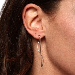 Sunstone Sterling Silver Linear Curve Dangle Earrings