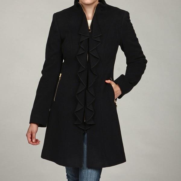 Tahari Women's Cashmere-blend Ruffle Front Coat