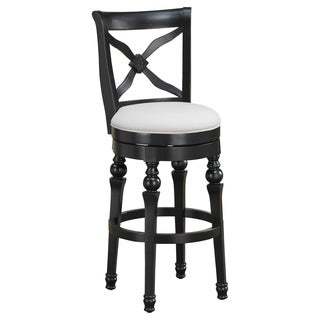 Hadleigh 24-inch Antique Black Swivel Counter Stool