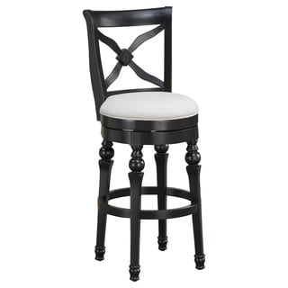 Hadleigh 30-inch Antique Black Swivel Bar Stool