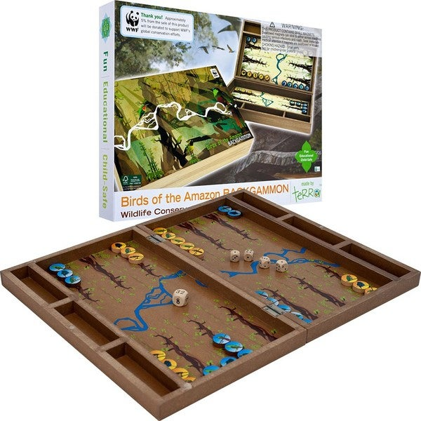 World Wildlife Foundation Family Night Brown Wood Board Games
