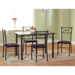 Valencia 6-piece Metal Dining Set with Baker's Rack