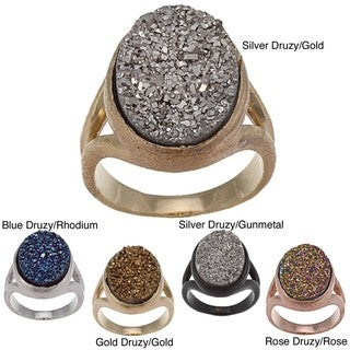 Caribe Gold Oval Druzy Gemstone Ring
