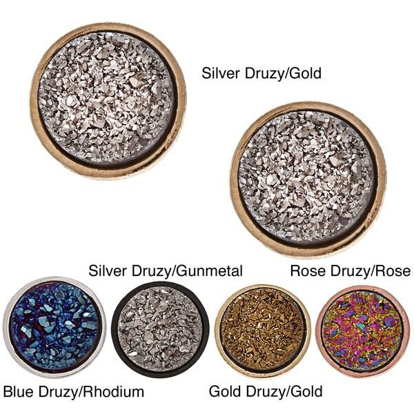 Caribe Gold Druzy Gemstone Stud Earrings