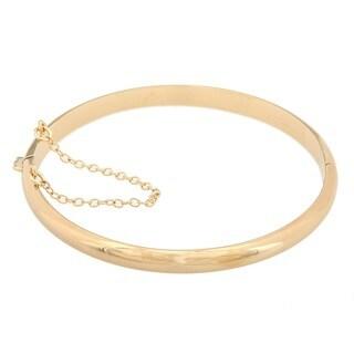 Sterling Essentials 14K Gold over Silver 7 Inch Polished Bangle Bracelet (5mm)