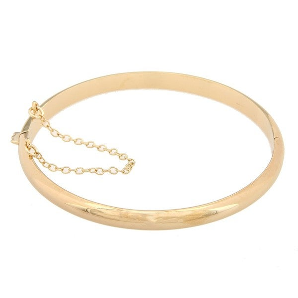 Sterling Essentials 14K Gold over Silver 7 Inch Polished Bangle Bracelet (5mm)
