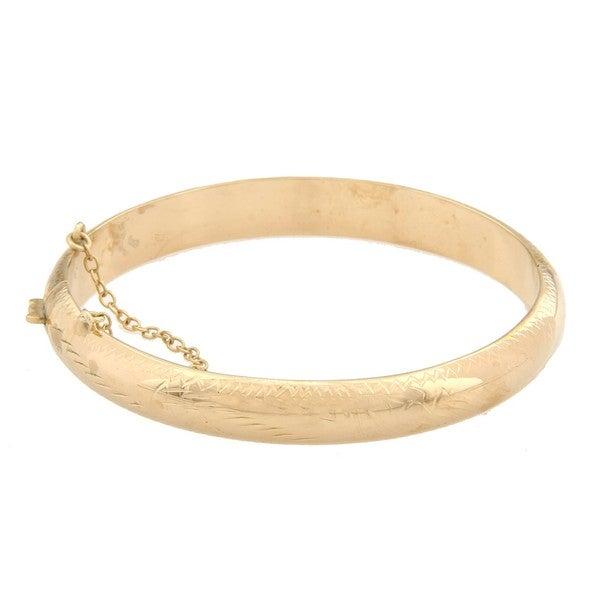 Sterling Essentials 14K Gold over Silver 7 Inch Engraved Bangle Bracelet (9mm)