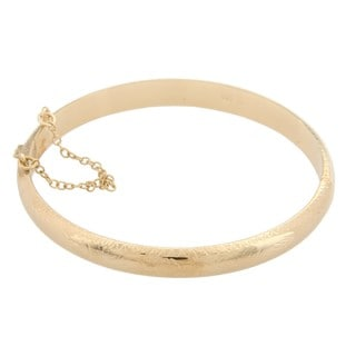 Sterling Essentials 14K Gold over Silver Engraved Bangle Bracelet