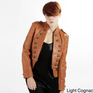 United Face Women's Lambskin Military Leather Jacket
