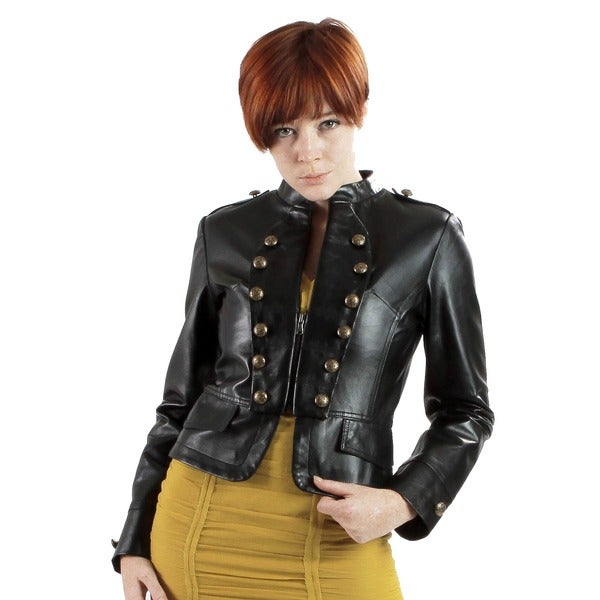 United Face Women's Lambskin Military Leather Jacket