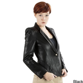 United Face Women's Tailored Leather Blazer