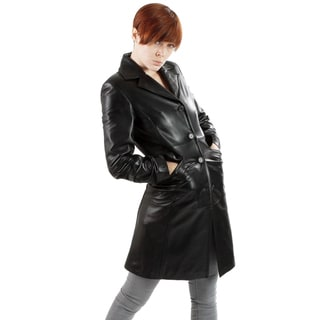 United Face Women's Long Leather Coat