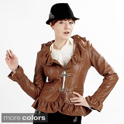United Face Women's Luxury Leather Ruffle Jacket