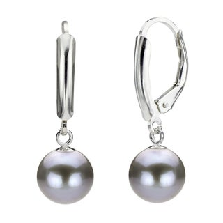 DaVonna Silver Grey Round FW Pearl Leverback Earrings (6-7 mm)