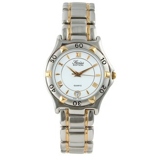 Swiss Edition Men's White-Dial Two-Tone Round Sport Bezel Watch