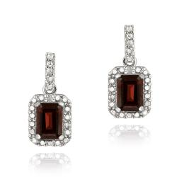 Glitzy Rocks Sterling Silver Garnet and Diamond Accent Earrings