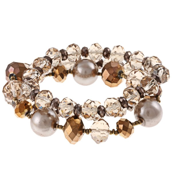 Alexa Starr Faux Pearl and Crystal 3-piece Stretch Bracelet Set
