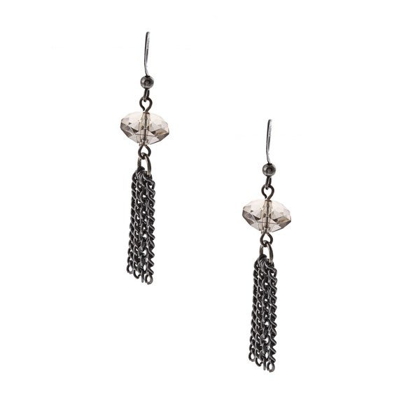 Alexa Starr Gunmetal Grey Crystal and Hematite Tassel Earrings