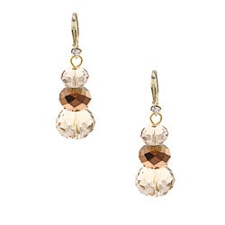 Alexa Starr Goldtone Bronze Crystal Faceted Drop Earrings
