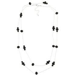 Alexa Starr Black Glass Station Long Necklace