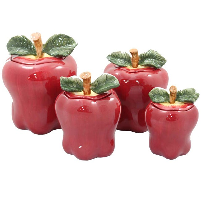 Casa Cortes Red Apple Deluxe 4-piece Canister Set
