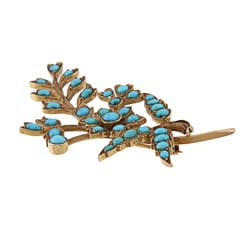 Pre-owned 18k Yellow Gold Turquoise Leaf Estate Brooch
