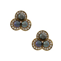 18k Gold Tahitian Pearl and 3ct TDW Diamond Estate Earrings (G-H, SI1-SI2) (7 mm)