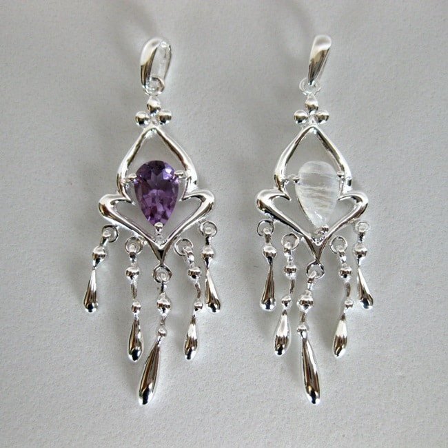 Sterling Silver Amethyst and Moonstone Chandelier Necklace (Thailand)