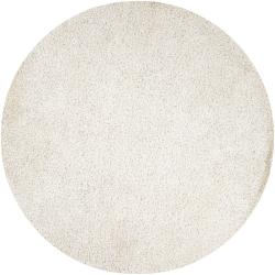 Hand-woven Hawn White Soft Shag (10' Round)