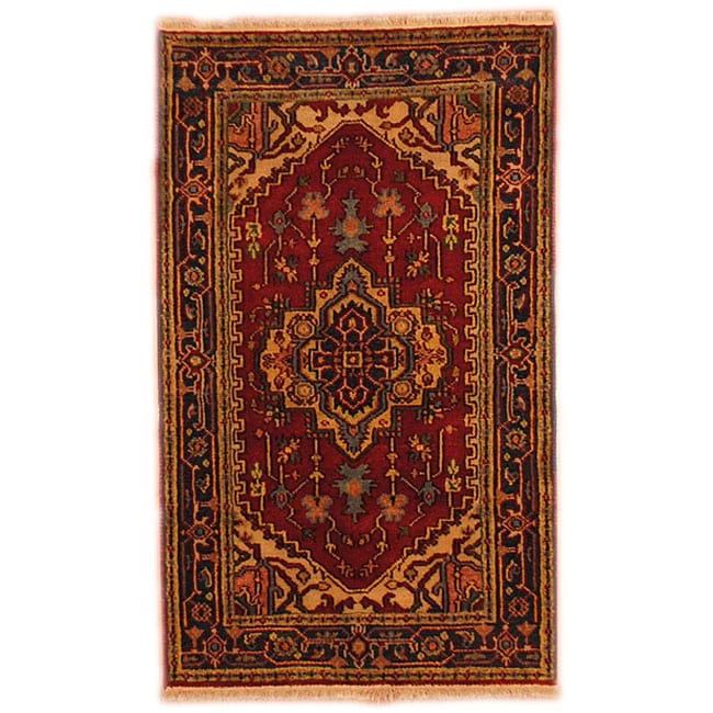 Herat Oriental Indo Hand-knotted Heriz Red/ Navy Wool Area Rug (3' x 5')