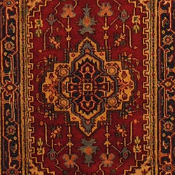 Indo Hand-Knotted Heriz Red/Navy Wool Area Rug (3' x 5')