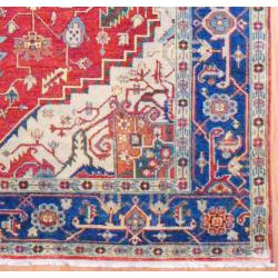 Indo Hand-knotted Heriz Rust and Navy Wool Rug (9' x 12')