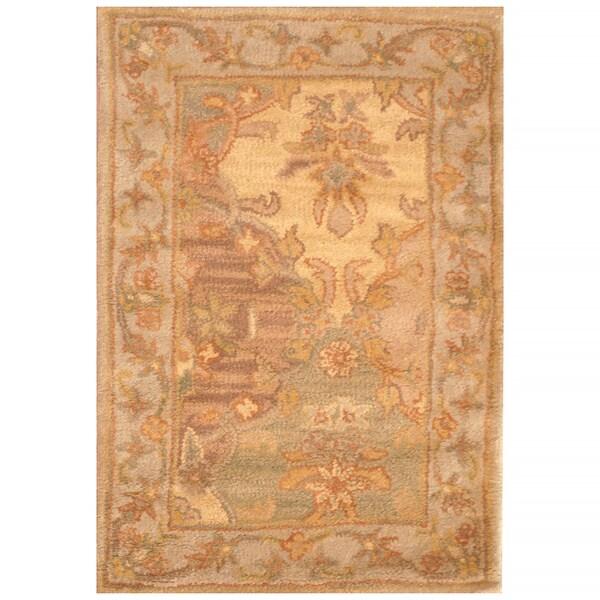 Herat Oriental Indo Hand-tufted Tabriz Beige Wool Rug (2' x 3')