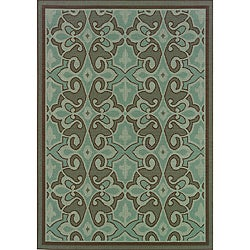 Abstract-Pattern Blue/Brown Outdoor Area Rug (7'10 x 10'10)