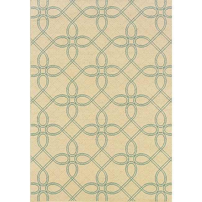 Geometric Ivory/ Blue Outdoor Area Rug (7'10 x 10'10)
