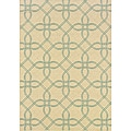 Geometric Ivory/Blue Outdoor Area Rug (7'10