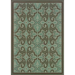 "Blue/Brown Outdoor Polypropylene Area Rug (3'7"" x 5'6"")"