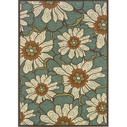 Blue/ Brown Outdoor Area Rug (5'3 x 7'6)