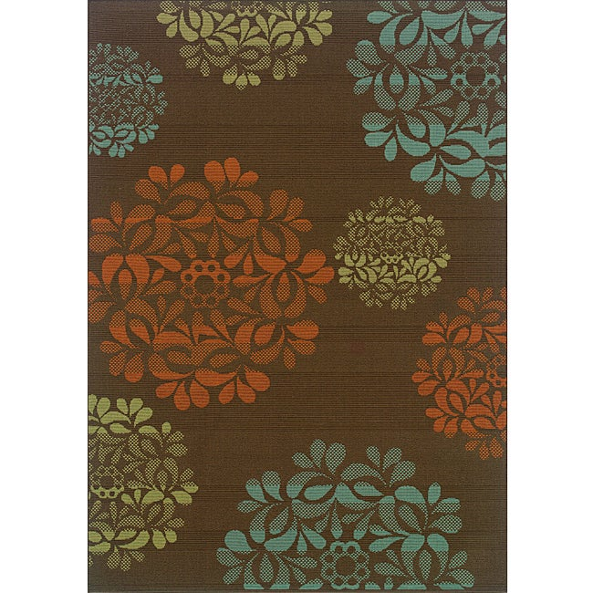 Brown Blue Outdoor Area Rug 7 10 x 10 10