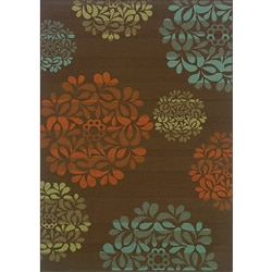 Brown/ Blue Outdoor Area Rug (7'10 x 10'10)