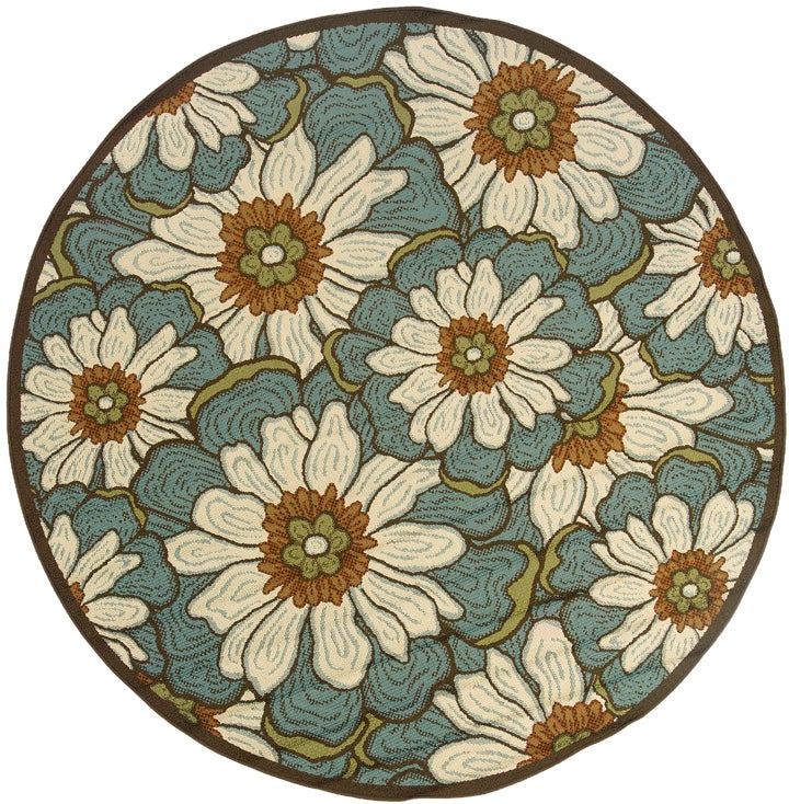 Blue/Brown Outdoor Area Rug (7'10 Round)