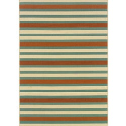 Blue/ Orange Outdoor Area Rug (7'10 x 10'10)